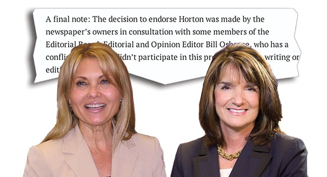 U-T San Diego threw its weight, and Papa Doug's money, behind Shirley Horton (left) while disparaging her opponent Diane Harkey (right).