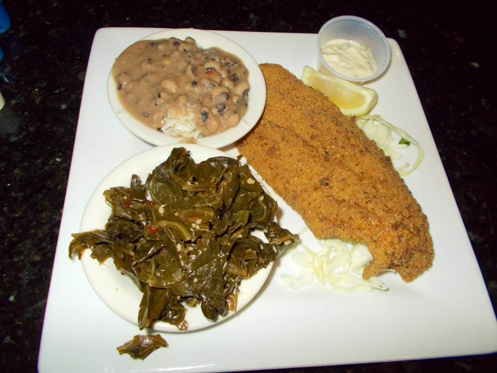 Hoppin' John, catfish, collard greens