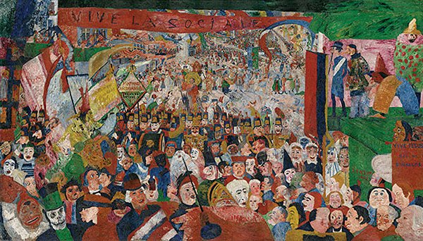 Christ's Entry into Brussels in 1889, by James Ensor (oil on canvas, 1888)