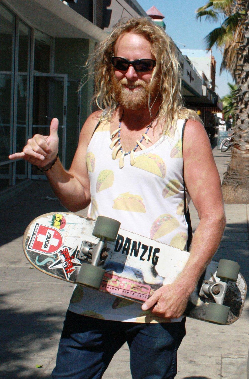 Skater Dave wearing a taco shirt