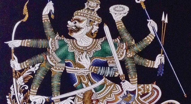 Thai mythical protectors decorate Noodles Noodles' walls