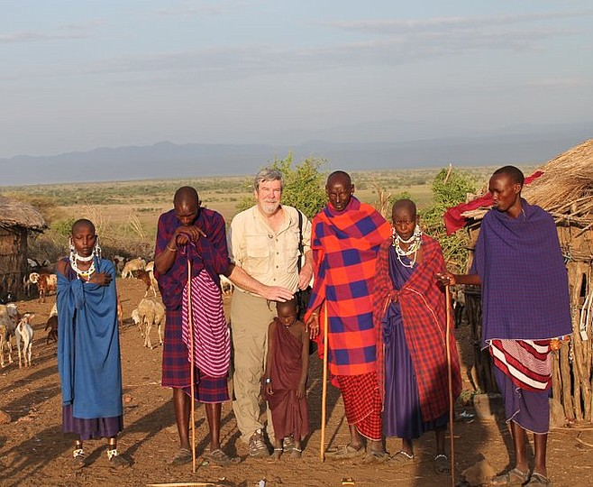 The author on a visit to a Maasai village.