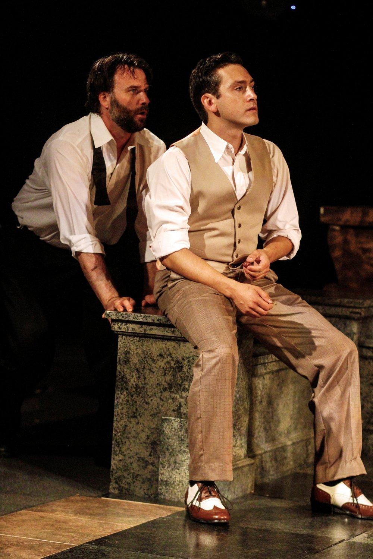 Sean Yael-Cox as Benedick (L); Charles Evans Jr. as Claudio (R)