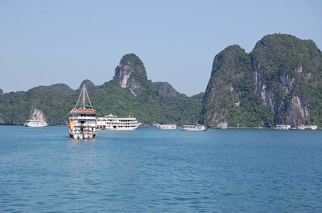 "Boats at exquisite Halong Bay in the Gulf of Tonkin, where an ""incident"" in August of 1964 triggered the Vietnam War."