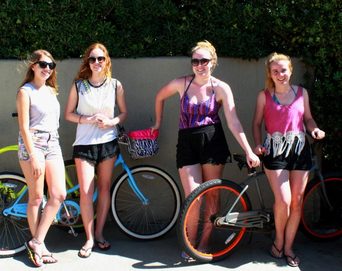 Mallory Peterson, Kristen Harris, Leanna Fraze, and Tess Fraze go for a bike ride in La Jolla
