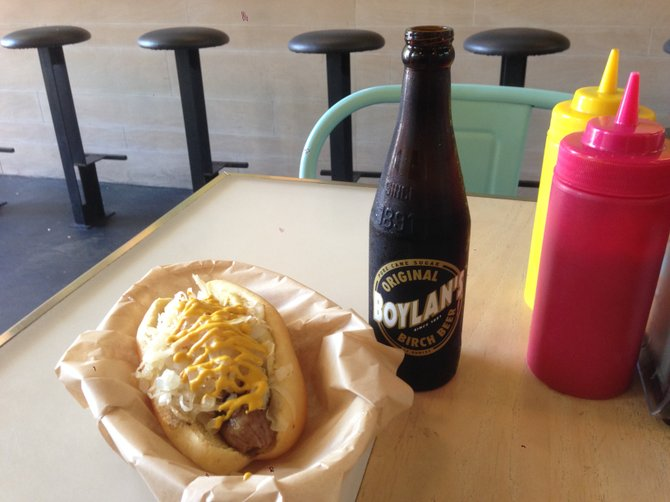 Abe Froman hot dog and birch beer. Delux Gourmet Hot Dogs.