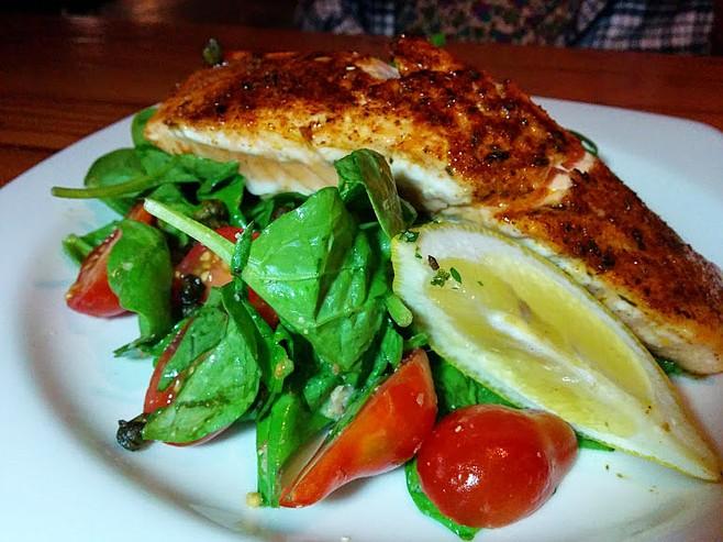 Nice piece of salmon on this salad