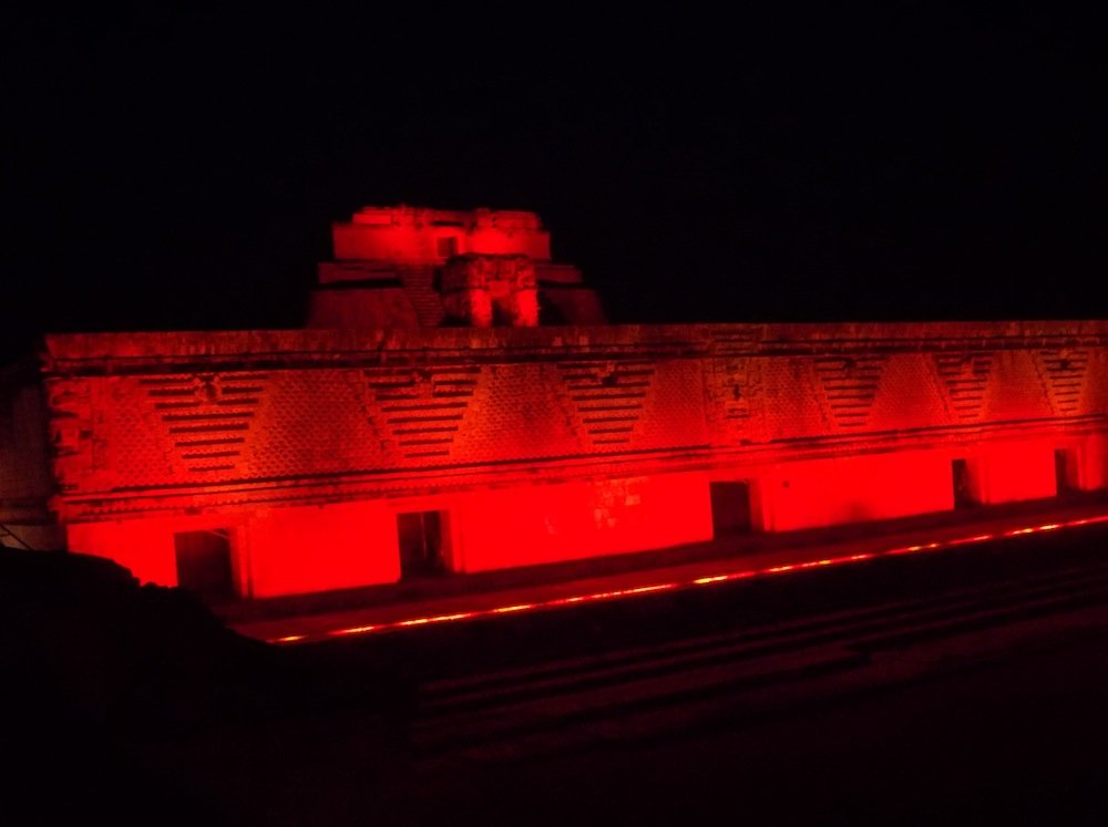 Uxmal Nunnery lit up during the Light and Sound Show.