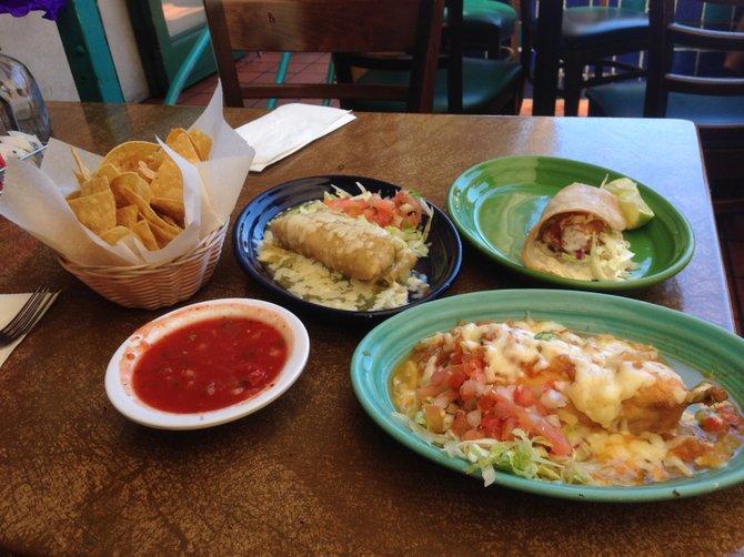 A sampling of a la carte items, $5-$6 apiece. Chile relleno, pork tamales, fish taco.