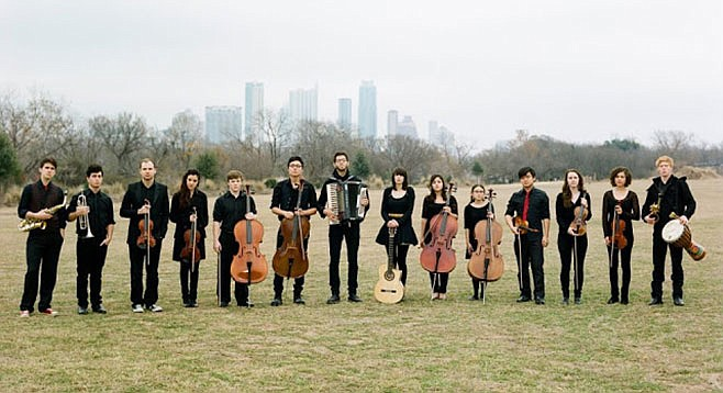 From Austin, Texas, orchestral big band Mother Falcon lands at Soda Bar on Wednesday.