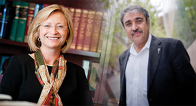 UCSD administrators Sandra Brown and Pradeep Khosla seek expert help in the gentle art of schmoozing.