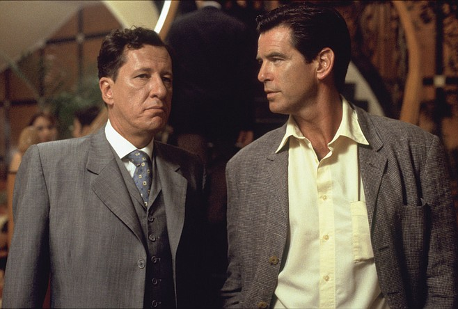 The tailor of Panama (Geoffrey Rush) and James Bond's schmucky nephew, Andy Osnard.