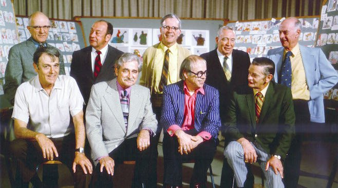 Top row (L to R): Milt Kahl, Marc Davis, Frank Thomas, Eric Larson, and Ollie Johnston. 