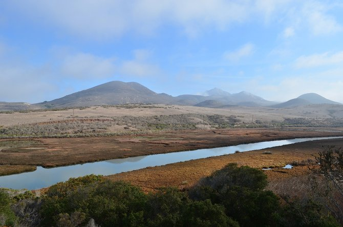 Looking east from Elfin Forest Forest Preserve, over Los Osos Creek, toward some of the Nine Sisters, San Luis Obispo, California.  January 2014.