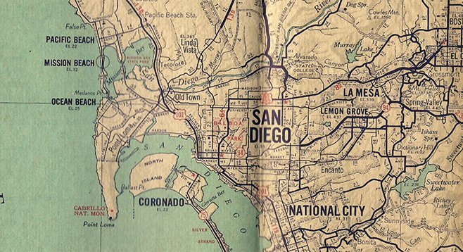 Detail of military version of Auto Club map