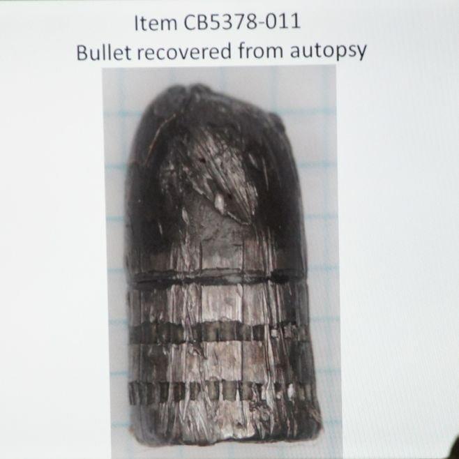 Evidence photo of .38 slug removed from Jason Harper's chest.