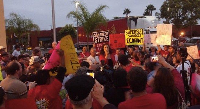 Lorena Gonzalez addresses the protesters