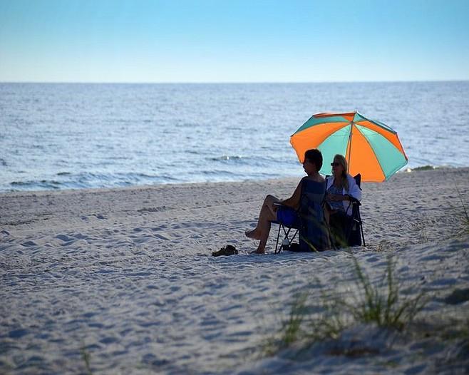 White-sand Gulf Shores beach.