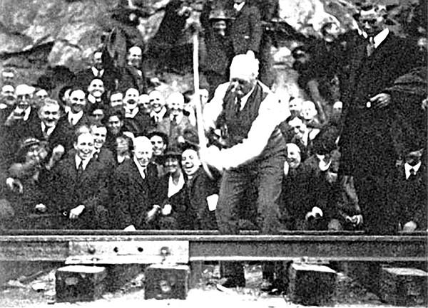 John D. Spreckels slams the final spike in the San Diego and Arizona Railway.
