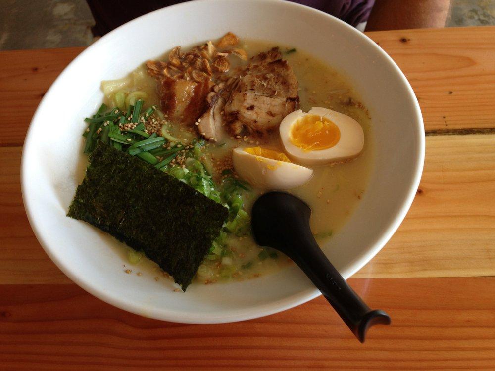 Tajima ramen bowl with gluten-free noodles. Tajima Hillcrest.