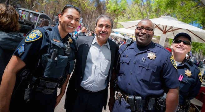 UCSD chancellor Pradeep Khosla and campus police