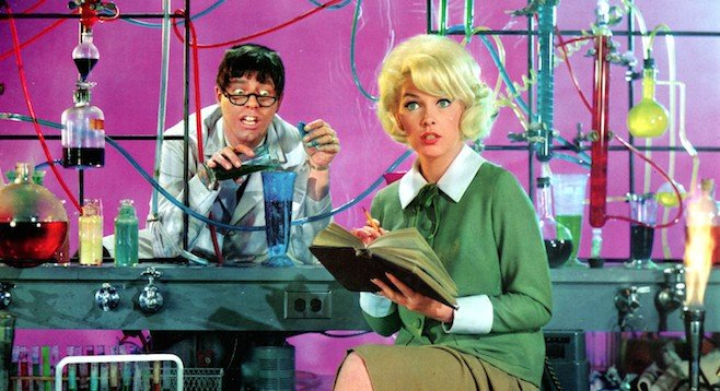 Please do not reveal the middle of this picture. Jerry Lewis and Stella Stevens in The Nutty Professor.