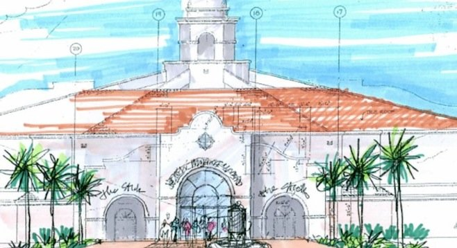 Architectural rendering of Del Mar Fairgrounds brewpub complex