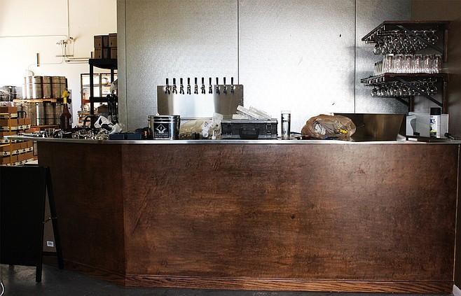 Newly installed tasting bar at Poway's Lightning Brewery