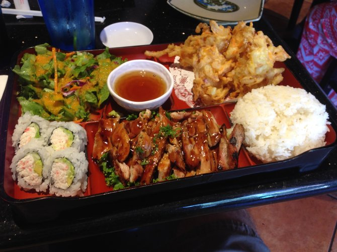 Looks like bento. But what's up with the tempura clumps? Chicken Teriyaki Combo Plate. Riki Sushi.