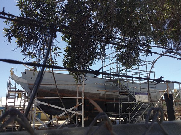 Topsail schooner at a trolley stop in Chula Vista?