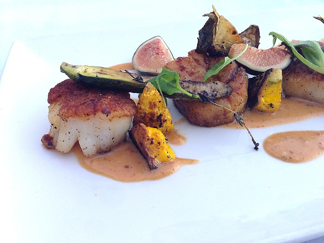Lovely scallop preparation, with fresh figs