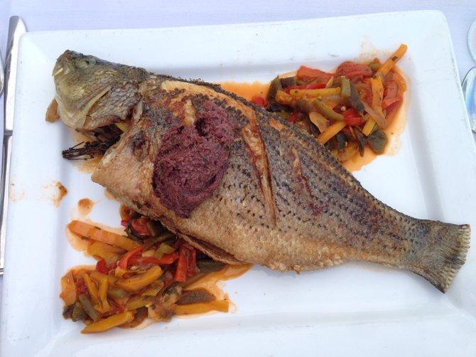 Whole roasted sea bass at Tom Ham's