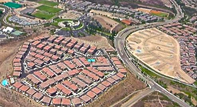 Aerial view of Lake Pointe project (right) and surrounding developments
