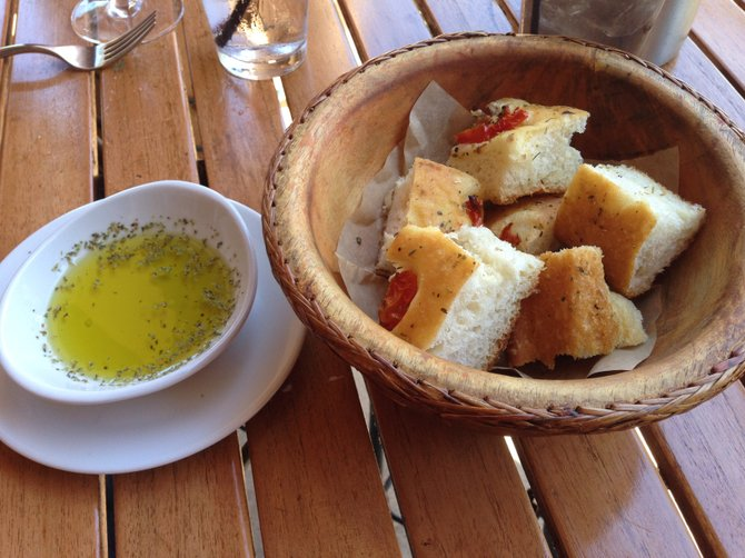 Housemade focaccia with cherry tomatoes