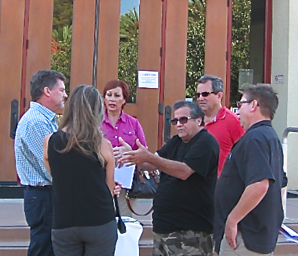 Lake Pointe opponents confronted a Lennar representative after the September 11 meeting.