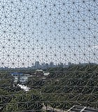 Downtown Montreal as viewed from the deck of the Biosphere, the geodesic dome designed by ...