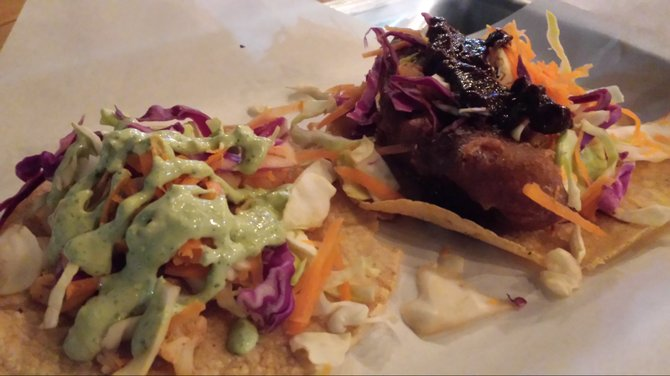 The taco de coliflor and tacoreano highlight Veggie Smalls regional fusion spin.