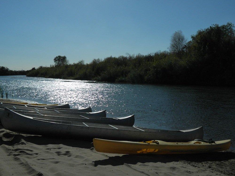 Kayaks on the Colorado River.
