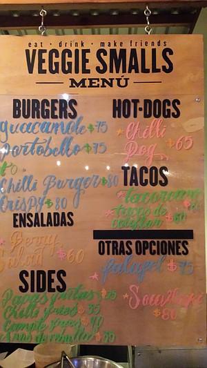 Veggie Smalls' full menu.