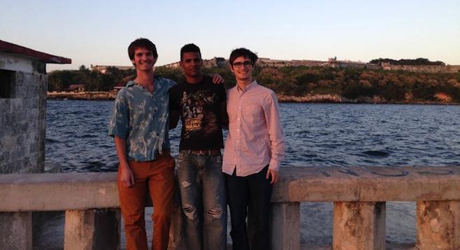 The author with León and Ben on Havana's El Malecón.
