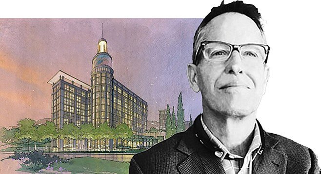 Architect Doug Austin (and his original plan for U-T headquarters) says Camino de la Reina can handle the extra traffic from a new Mission Valley residential development.