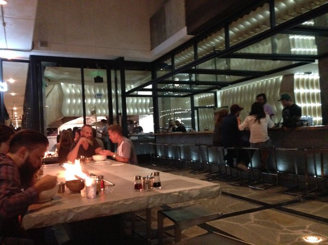 Fire tables and an open patio.