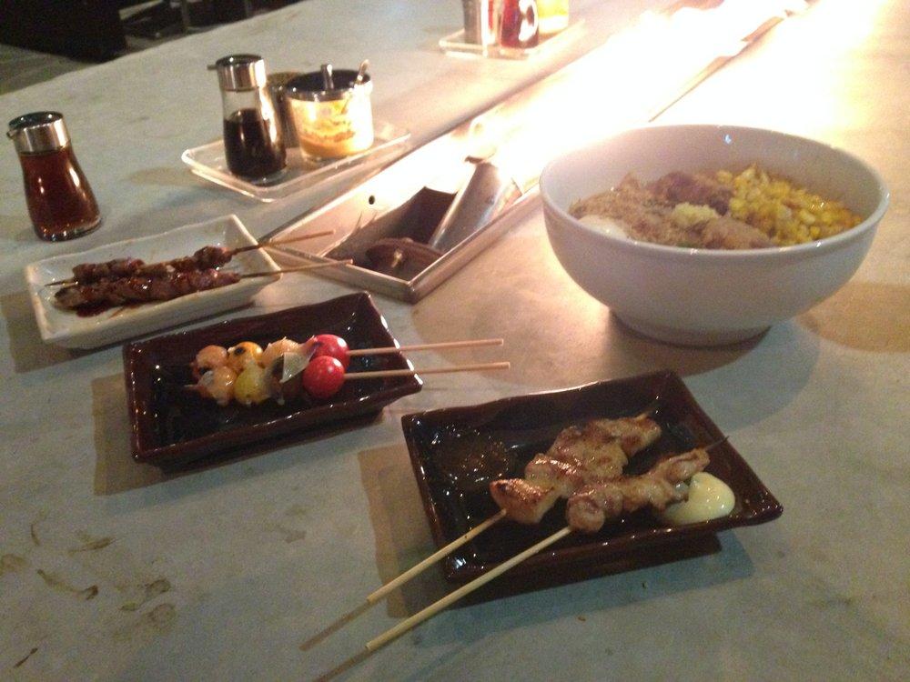 Chicken liver, heirloom tomato and pork belly yakitori, plus miso ramen. Underbelly.
