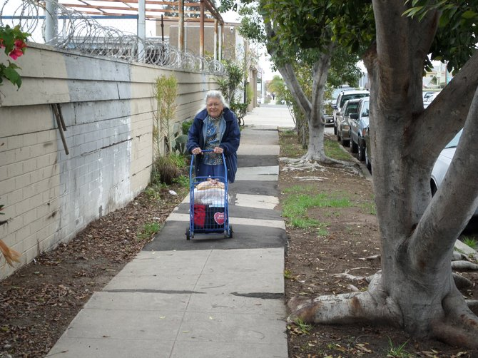 Here a senior who lives in senior/handicapped housing, walks by a city parcel where the sidewalk has been bulging for over a decade, as I remember walking this block when I ran for City Council 1999! The St. 33rd north of El Cajon Blvd, is also leaking water, and bulging at the sewer line.