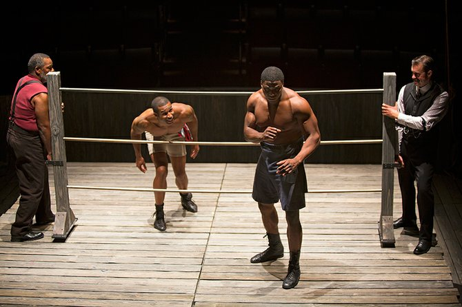 Ray Anthony Thomas as Wynton, Robert Christopher Riley as Jay, Okieriete Onaodowan as Fish, and John Lavelle as Max in Marco Ramirez's The Royale.