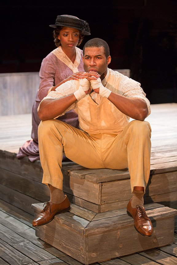 Montego Glover as Nina and Robert Christopher Riley as Jay in Marco Ramirez's The Royale.