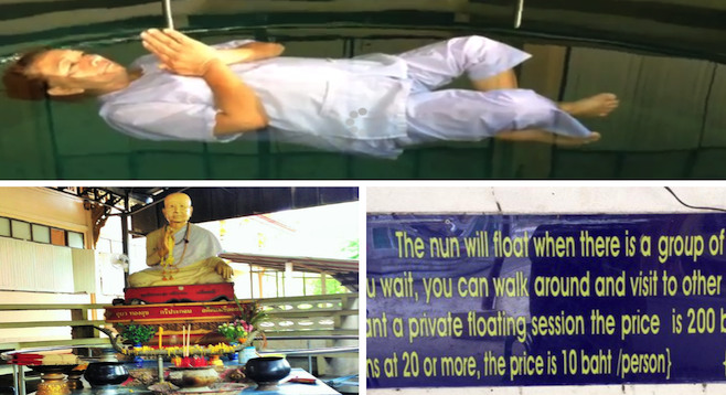 Clockwise from top: floating nun in the temple pool; a sign lists fees for tourists; memorial to the original floating nun, who is believed to have transmitted her secrets to disciples.