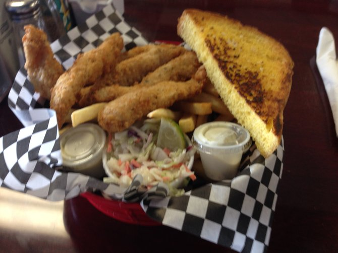 Even the cole slaw tastes good. Fish and Chips. George's Fish Bucket.