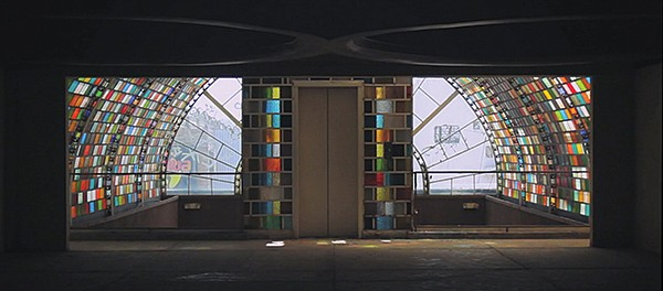 The stained-glass archway of the Mexicoach bus station was built in 1983.