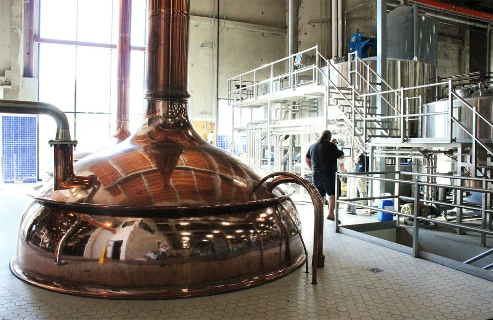 The brewery at Ballast Point Brewing & Spirits' new Miramar facility features a copper brewhouse reclaimed from a defunct brewery in Germany